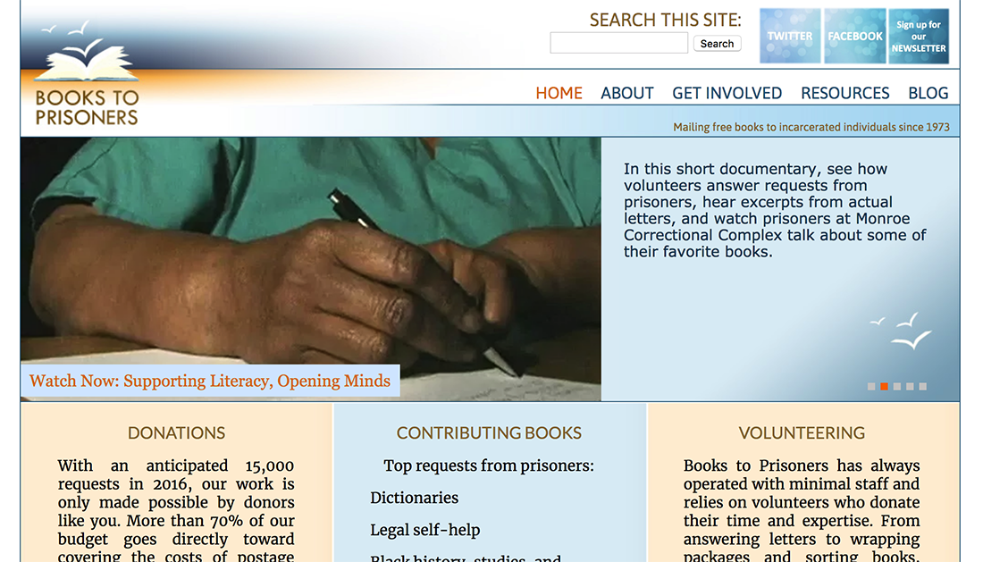 Books to Prisoners WordPress nonprofit website example