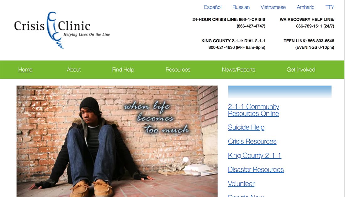 Crisis Clinic nonprofit WordPress website example