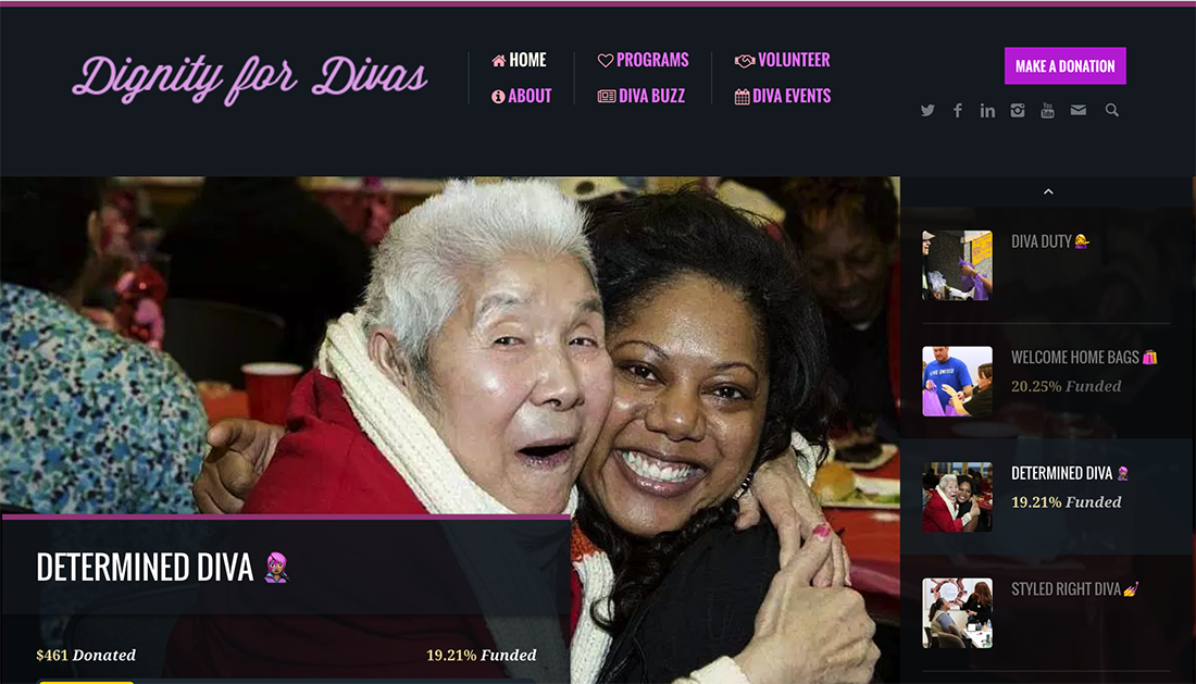 Dignity for Divas WordPress website