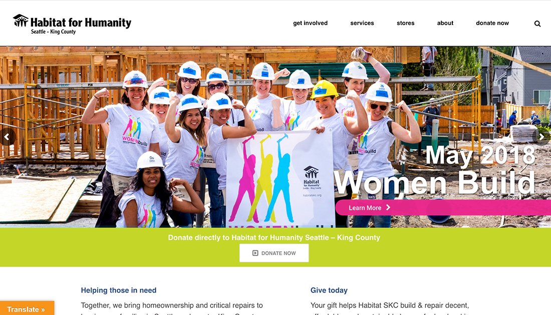 Habitat for Humanity King County nonprofit WordPress website example