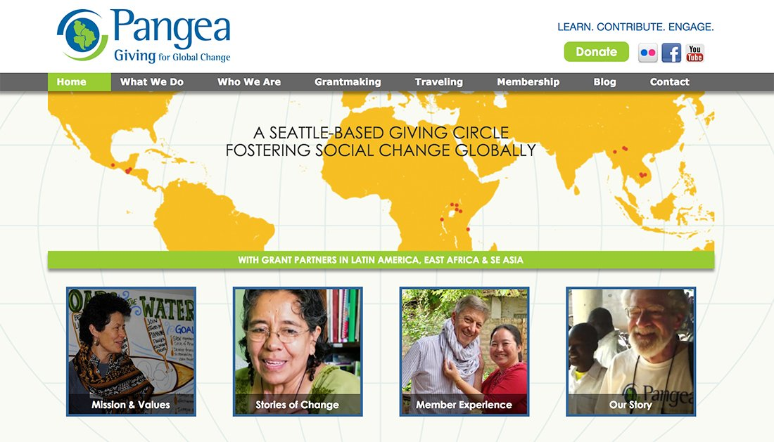Pangea nonprofit WordPress website example