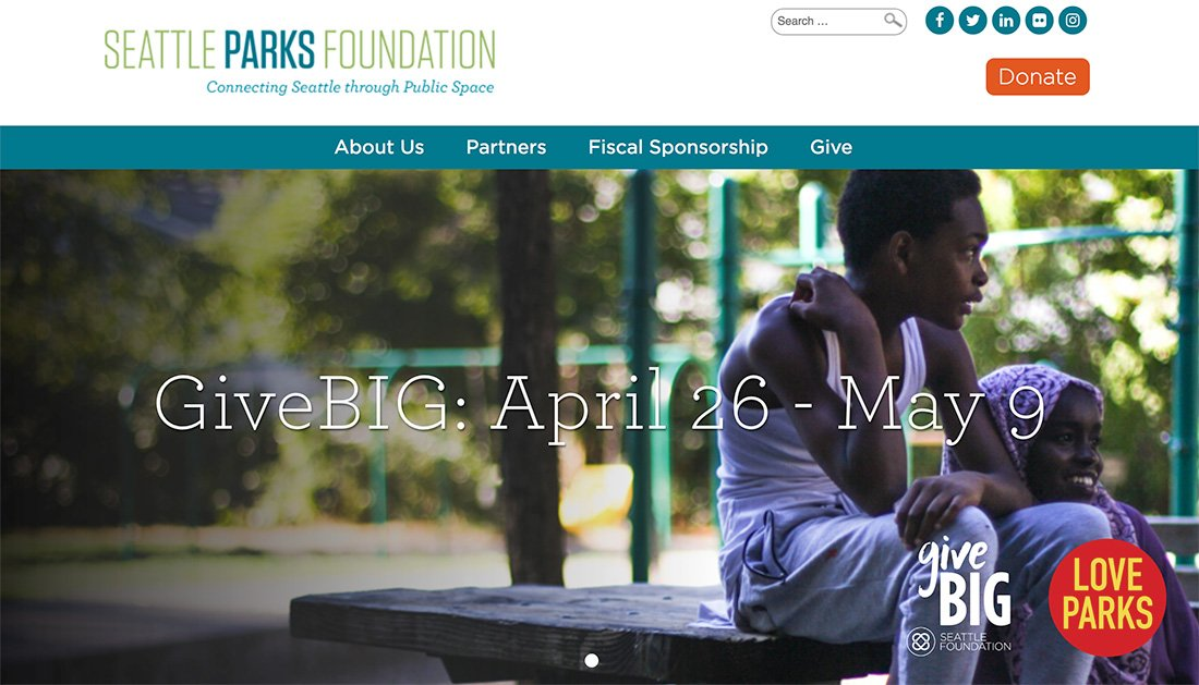 Seattle Parks Foundation nonprofit WordPress website example