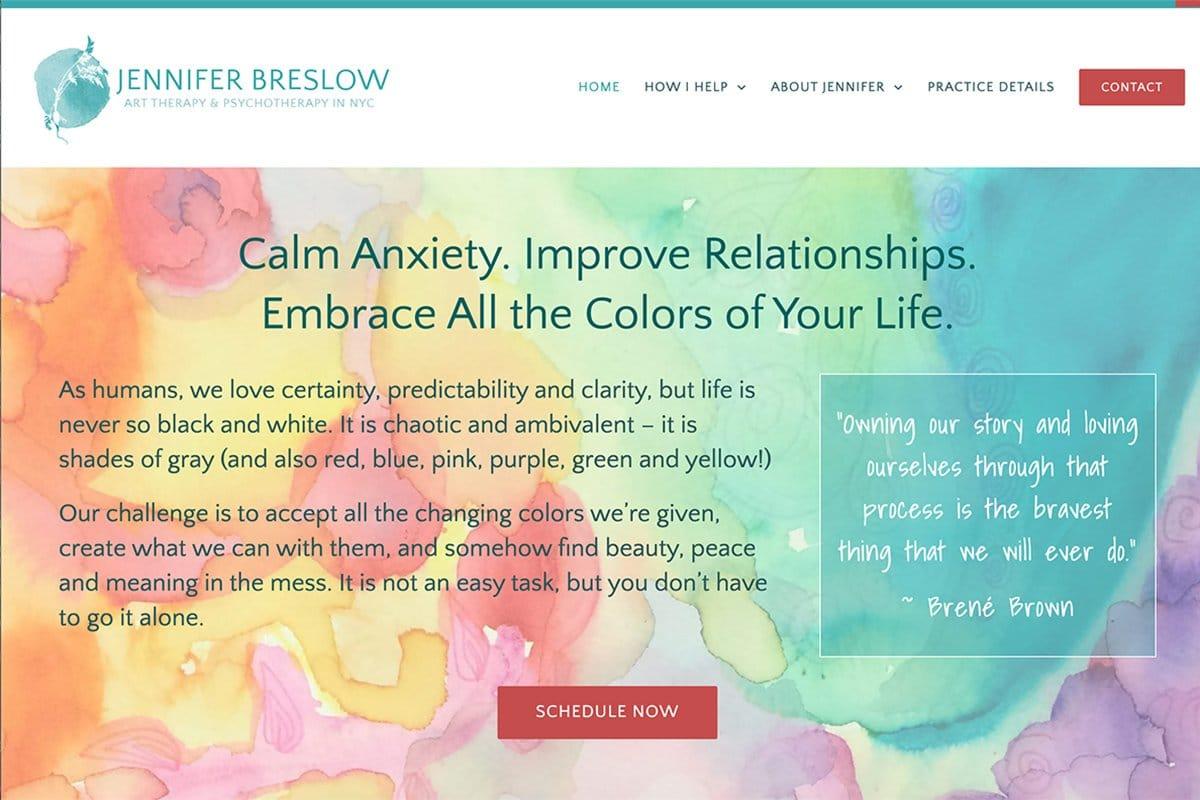 Jennifer Breslow WordPress therapy website examples