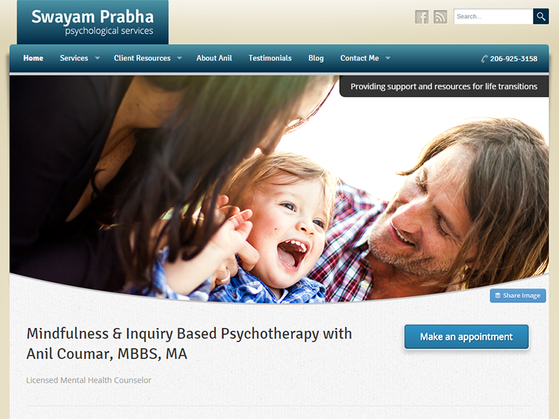 Therapist and Mindfulness WordPress website