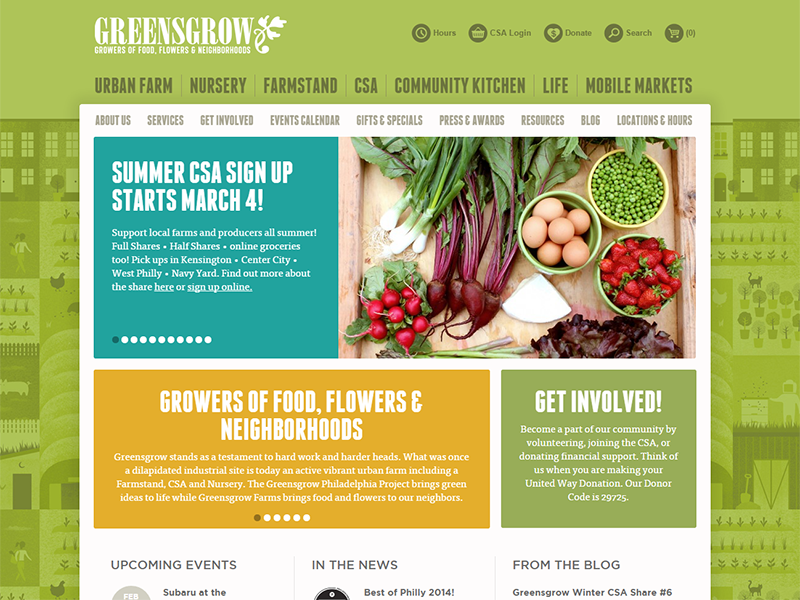 Farmers Market WordPress website design