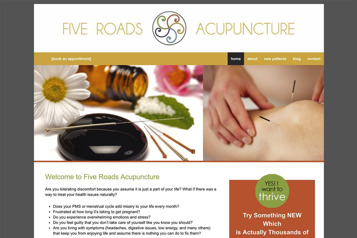 Five Roads Acupuncture WordPress website example