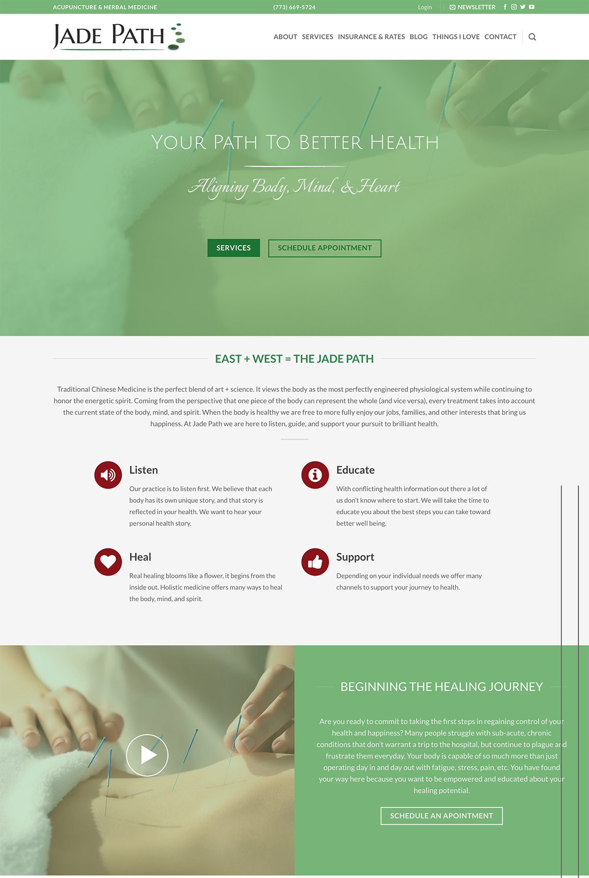 Jade Acupuncture WordPress website example