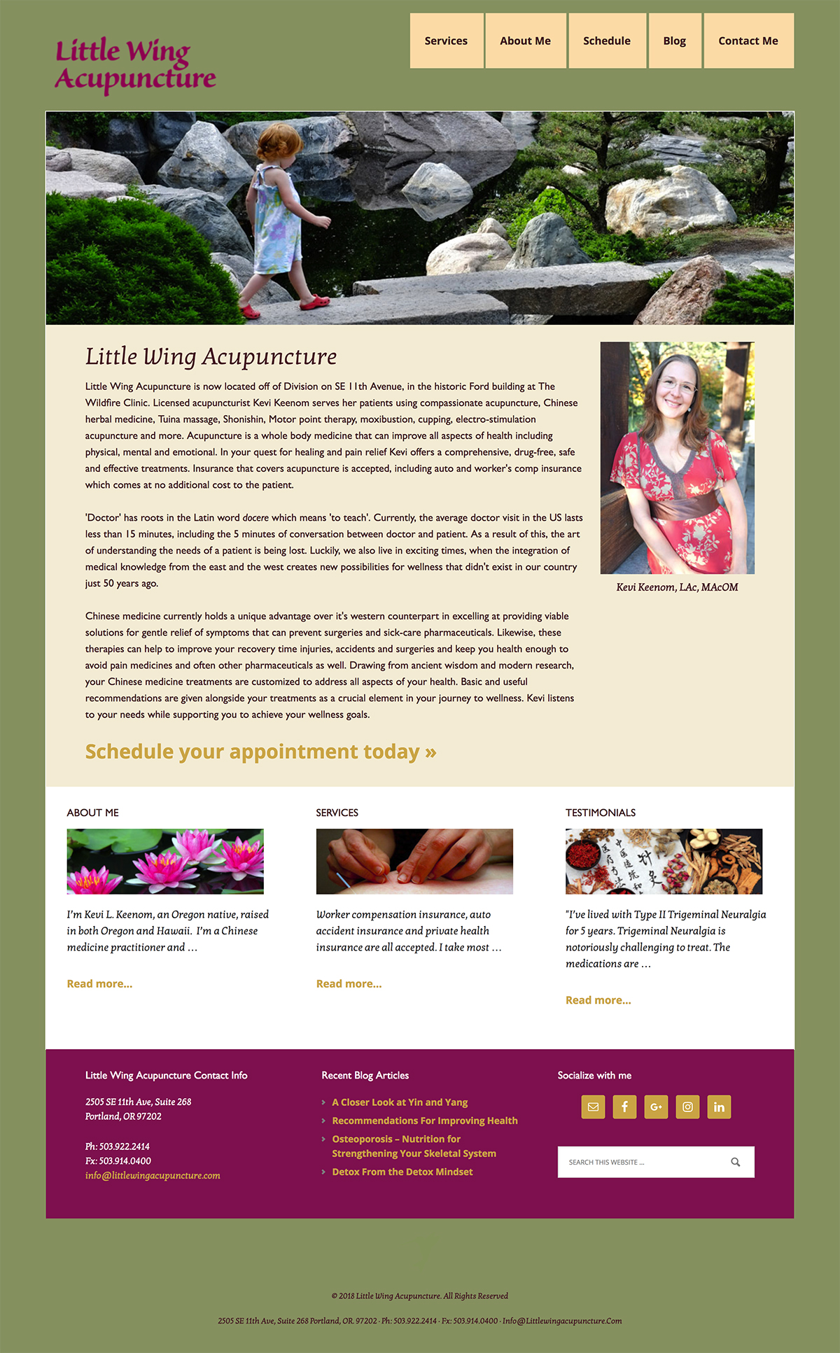 Little Wing Acupuncture WordPress website example