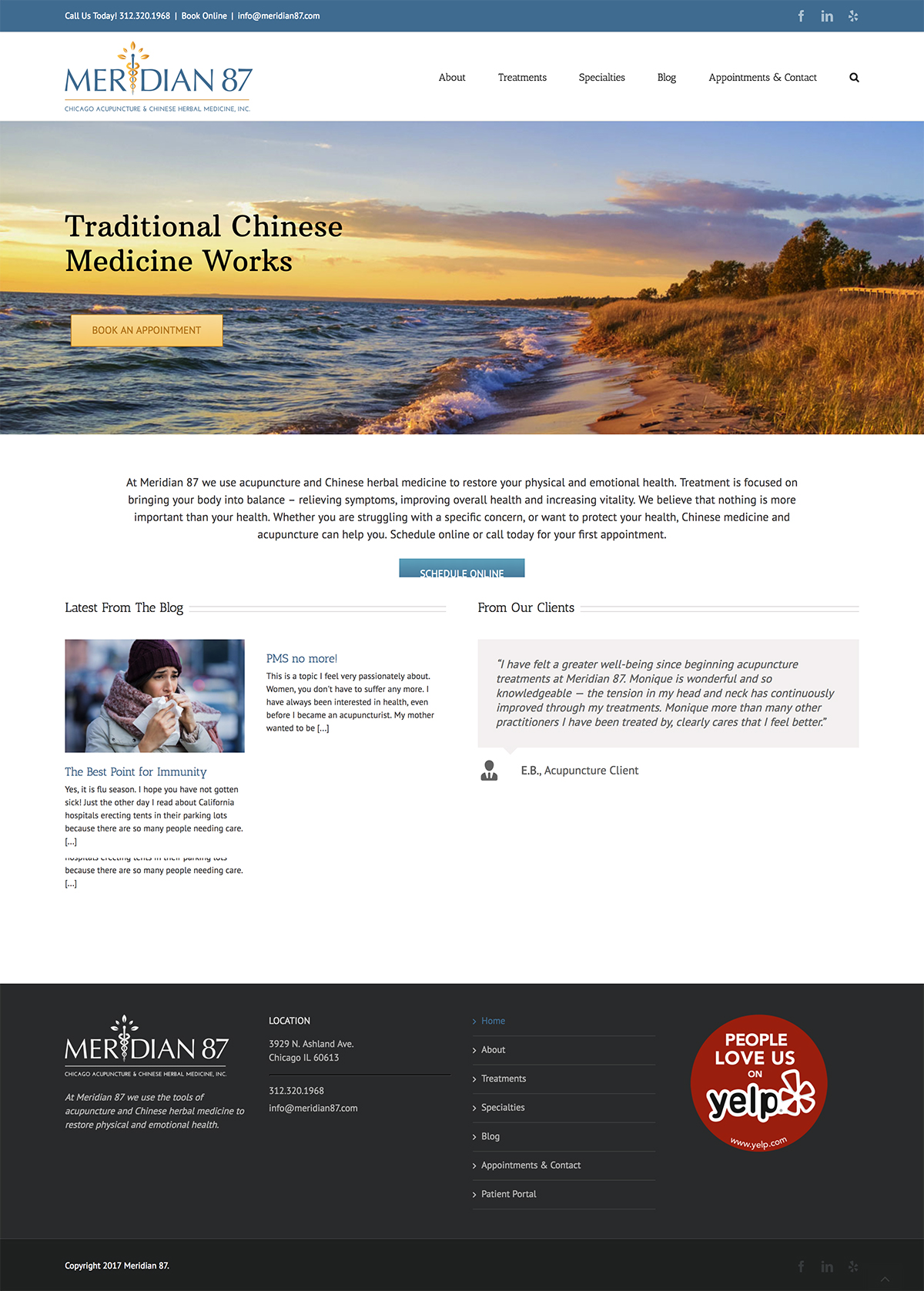 Meridian 87 Acupuncture WordPress website example