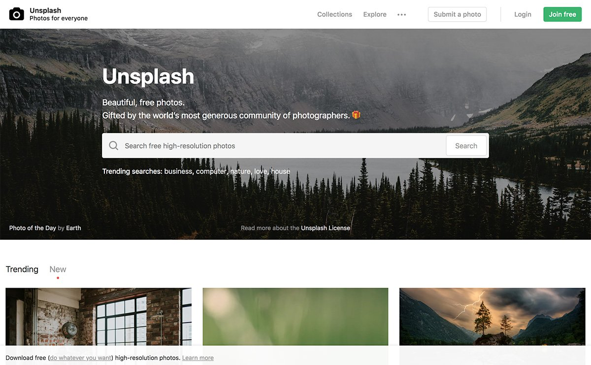 Unsplash: free stock photos resource