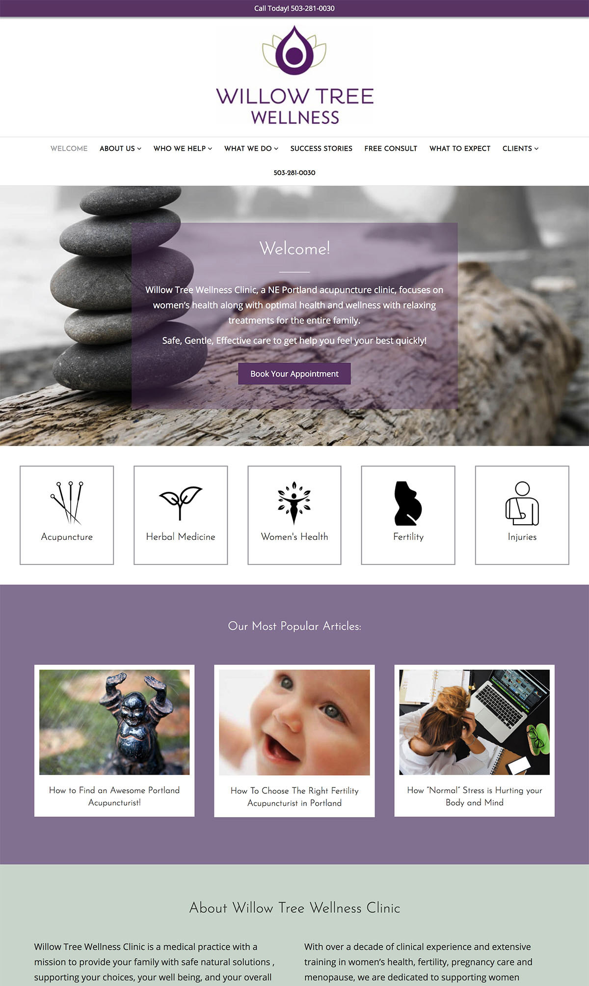 Willow Acupuncture WordPress website example
