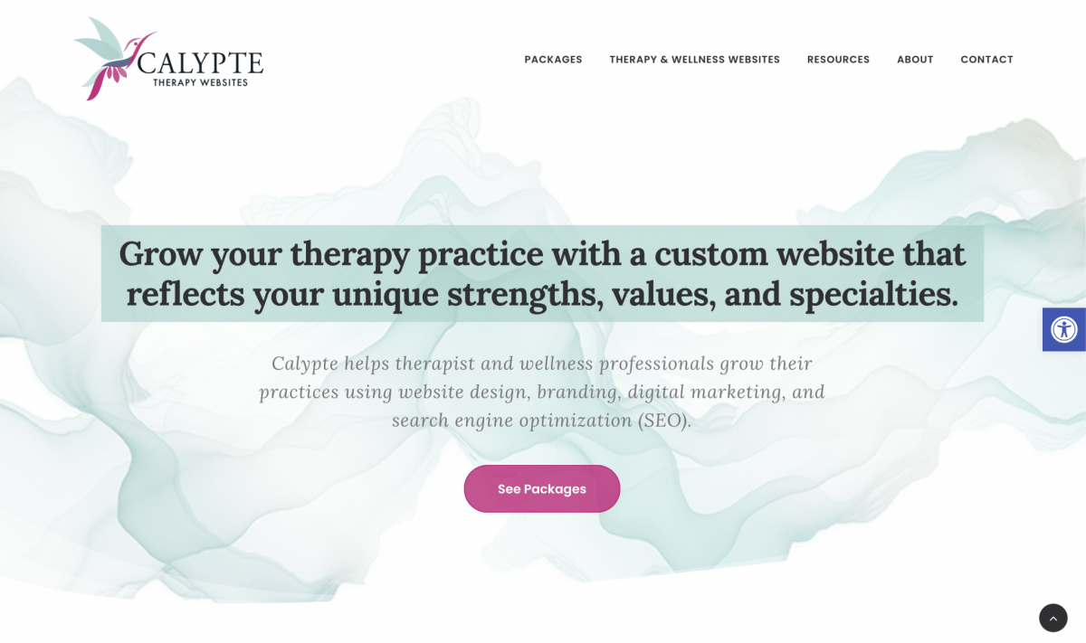 screenshot of Calypte Therapy Sites website homepage